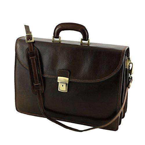 Leder Business Taschen - 4007 Dunkelbraun - Echtes Leder Tasche - Mega Tuscany