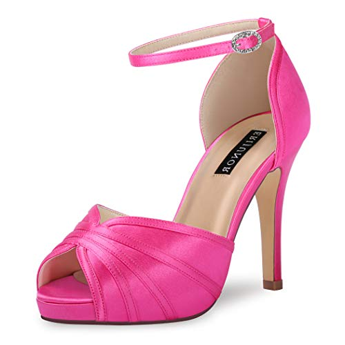 ERIJUNOR E1773 Womens High Heel Ankle Strap Satin Evening Prom Bridal Wedding Shoes Hot Pink Size 5