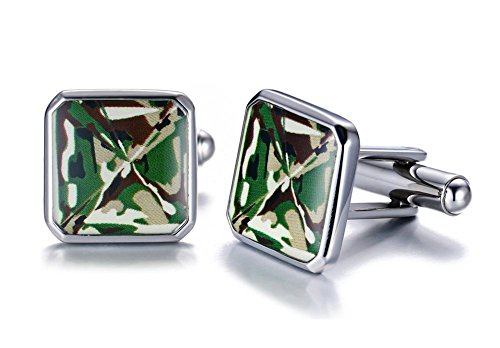 Stainless Steel Square Shaped Green Camouflage Camo Inlay Enamel Cufflinks for Men 14k Green Cufflinks
