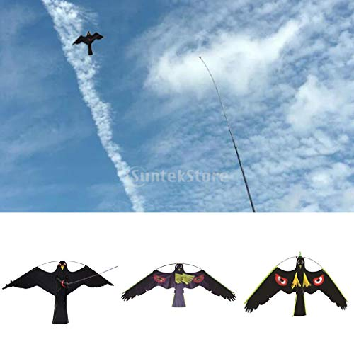 Bird Repel - 3x Hawk Bird Scarer Kite Pest Deterrent Garden Pond Cat Decoy Outdoor Kids Toys Windsock Scarecrow - Scarecrow Tattoo Bird Kite Stand Garden Degree Wings Strip Pigeon Duck Motion W