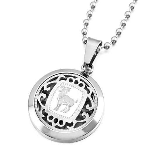 (MeMeDIY Silver Tone Stainless Steel Pendant Necklace Aries Horoscope Zodiac,Come with Chain - Customized Engraving )