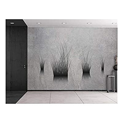 Majestic Artistry, Lone Plants on a Pond on a Grey and Grainy Background Wall Mural, Quality Artwork