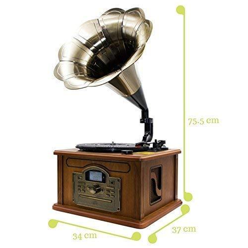 Lauson CL147 Gramófono Retro Bluetooth Función Encoding, Tocadiscos Vintage Trompeta de Madera con Altavoces Incorporados, Radio, CD, USB, MP3