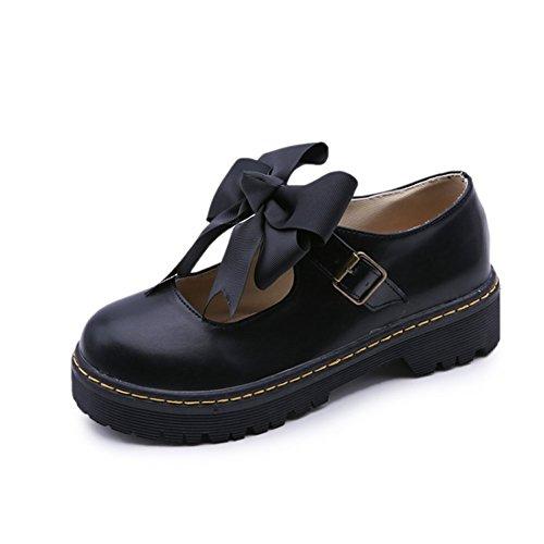 TIOSEBON Women's Oxford Black Shoes Ladies Strap School Uniform Dress Shoes 7 US Black