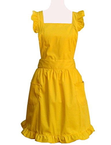 Hyzrz Lovely Yellow Handmade Cotton Retro Aprons for Women Cake Kitchen Cook Apron with Pockets for Gift]()