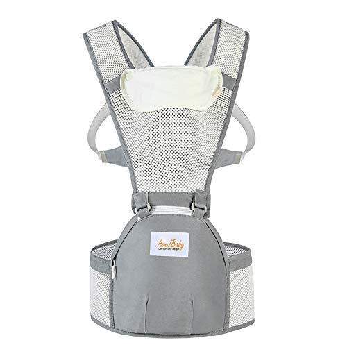 Jerrybaby Popular Baby Backpack 2-in-1 Baby Carrier, Kangaroos Backpack Hipseat Carrier (Gray Beige mesh)