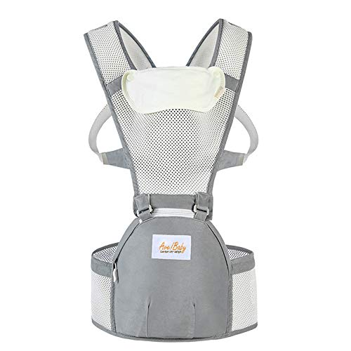 Jerrybaby Popular Baby Backpack 2-in-1 Baby Carrier, Kangaroos Backpack Hipseat Carrier Gray Beige mesh
