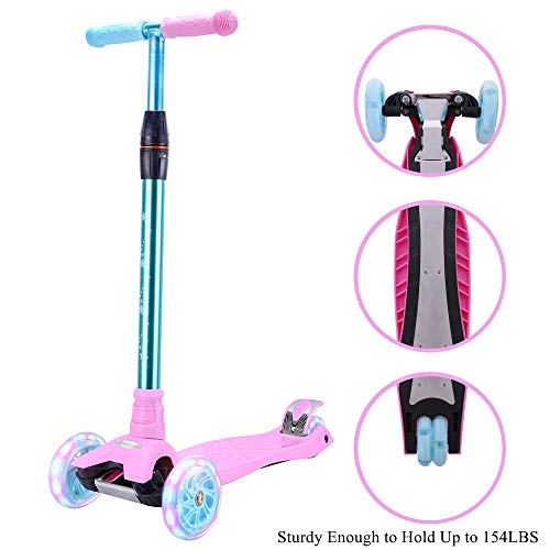 WonderView Kick Scooter for Kids 3 Wheel Scooter,4 Height Adjustable PU Wheels with Extra Wide Deck Best Gifts for Kids, Boys and Girls - New Duo Lock Snaps