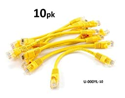CablesOnline 10-PACK 6inch CAT5e UTP Ethernet RJ45 Full 8-Wire Yellow Patch Cable, (U-000YL-10)