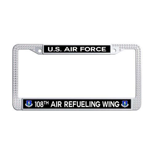 - Framespolish US Air Force 108th Air Refueling Wing Auto License Cover Holder White Rhinestones Car License Plate Frame Holder