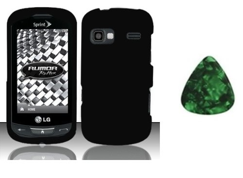 (For LG Rumor Reflex LN272 / Freedom UN272 / Converse AN272 / Expression C395c / Xpression C395 Faceplate Hard Phone Cover Case - Black + Free Green Stone Pry Tool)