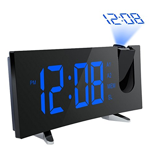"PICTEK Projection Alarm Clock, [Curved-Screen] Projection Clock, Digital FM Clock Radio with Dual Alarms, 5"" LED Display, USB Charging, Battery Backup"