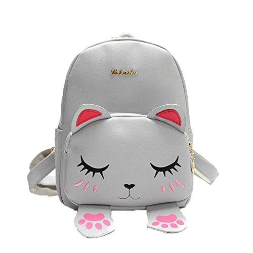 Backpack, Backpack Bag Cat Internet Girls Travel Bag Shoulder Gray School