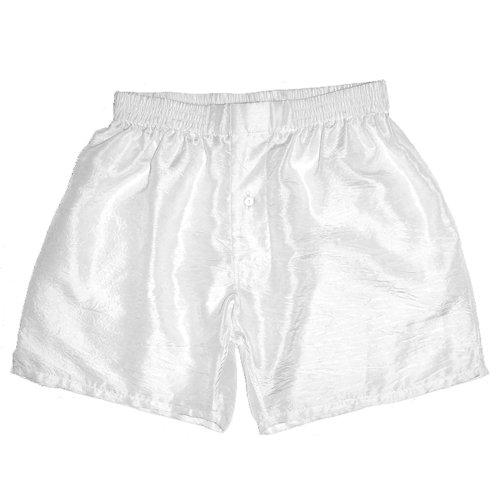 White Crinkle Silk Boxers for Men - Size M (White Button Fly Boxer)