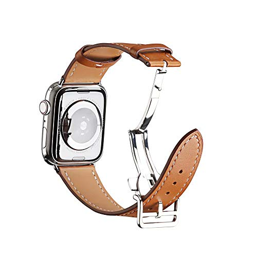 (E-Top Parts Genuine Leather Band Deployment Buckle Single Tour Strap Band for Apple Watch Series 4/3/2/1 Watchband Replacement Strap Men/Women 38/40mm 42/44mm Bracelet (Brown, 42/44MM))