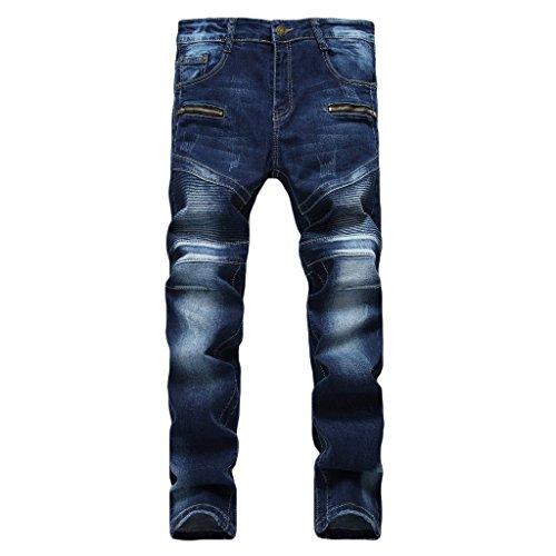 MAGE MALE Men'/s Ripped Biker Jeans Slim Fit Straight Destroyed Trousers With Zipper Deck Dark Blue 32 W Dark Blue Zipper