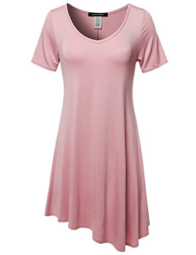 (Awesome21 Solid Short Sleeves Asymmetrical Swing Tunic Top - Made in USA Dusty Pink)