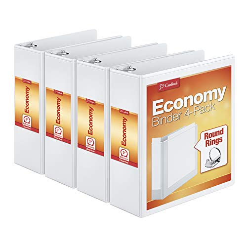 """Cardinal 3"""" Round-Ring Presentation View Binders, 3-Ring Binder, Holds 625 Sheets, Nonstick Poly Material, PVC-Free, White, 4-Pack (00430)"""