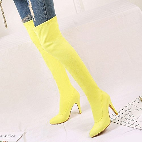 Pull Long Taoffen Boots Yellow Women's On Spn1wtx