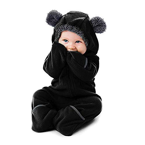 Clearance Baby Thanksgiving Day Cartoon Ears Hoodie Romper Clothes Toddler Infant Girls Boys Cartoon One-Piece Zipper Jumpsuit (Black A, 3-6 Months)]()