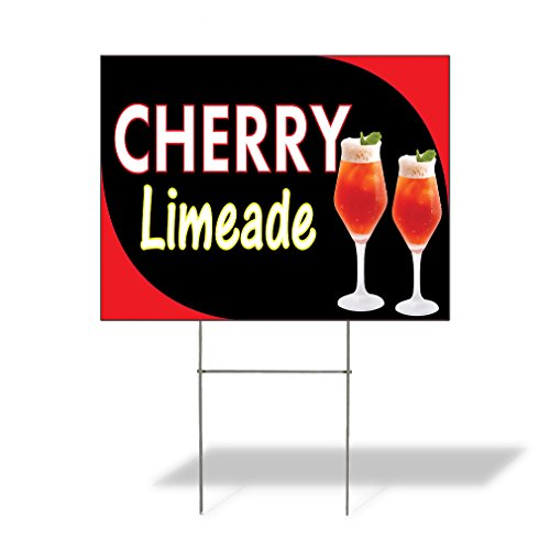 Plastic Weatherproof Yard Sign Cherry Limeade #1 Style A Orange for Sale Sign One Side 18inx12in ()