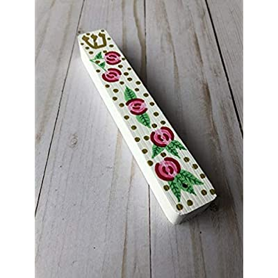 Floral Mezuzah, Handmade Wood Scroll Case for Girl, Pink and White: Handmade