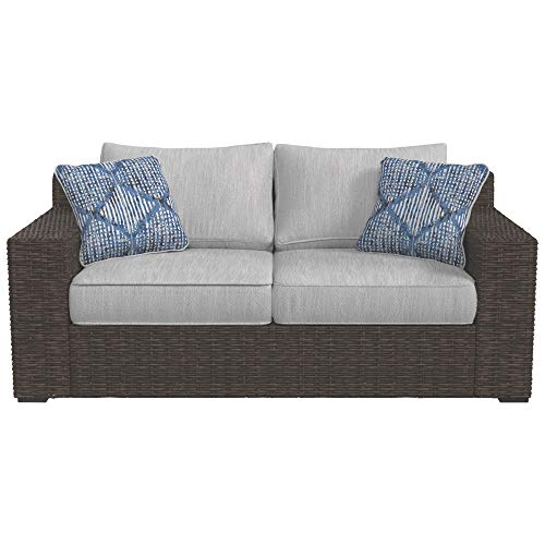 Ashley Furniture Signature Design - Alta Grande Outdoor Loveseat with Cushion - Beige & Brown