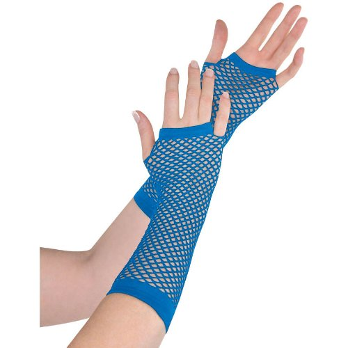Amscan Fishnet Long Gloves, Party Accessory, Blue]()