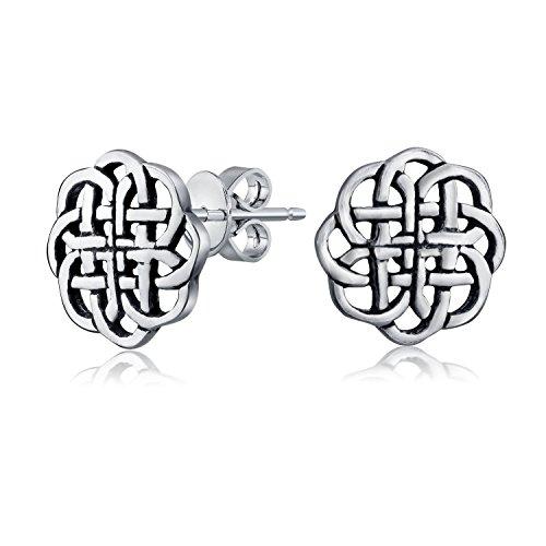 Bling Jewelry Boucles d'oreille petite fleur celtique en argent