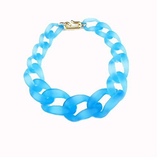 Jewelrydress Women Fashion Acrylic Twist Collar Chunky Choker Statement Chain Necklace Blue