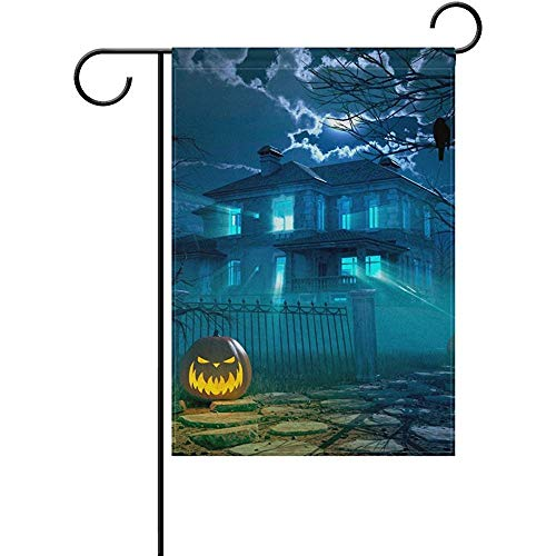Sandayun88x Halloween Night Scary House Crow and Pumpkin Decorative Double Sided Garden Flag 12 x 18 inch ()