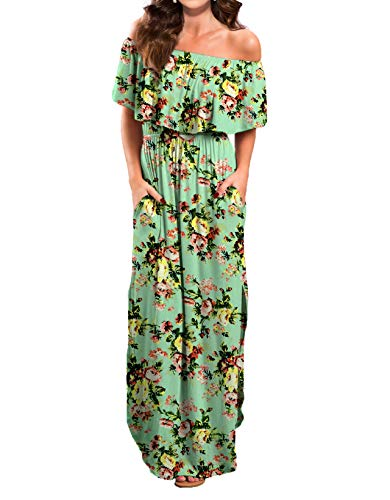 (VERABENDI Women's Summer Off Shoulder Loose Plain Floral Maxi Dress Print Casual Long Dresses with Pockets)