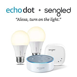 Echo Dot (2nd Generation) - White with Element by Sengled 2 Bulb Kit