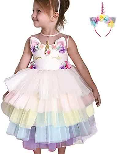 dbf5ac37942b Baby Kid Girl Unicorn Costume Flower Tutu Tulle Dress Princess Pageant  Party Cosplay Fancy Dress Up