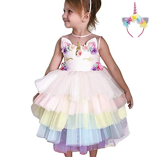 (Little Big Girl Unicorn Princess Pastel Tutu Tiered Dress School Sweetheart Ball First Christening Photo Props Evening Gala Party 6-7)