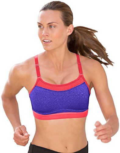 Champion Women's the Show-Off Sports Bra, Pizzazz Purple Heather/Neon Flare, X-Large