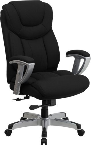 Heavy Duty Super Seller Extra Comfortable Black Fabric Big Tall Executive Office Chair- Durable 400 Pound Weight Capacity- High Back Lumbar Support Multiple Adjusting Positions- Professional (Chair Call)