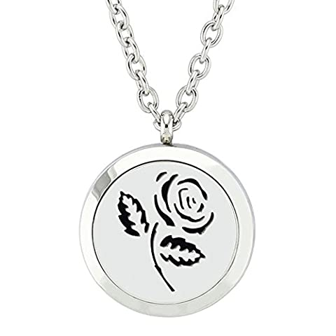Jenia Aromatherapy Essential Oil Diffuser Necklace Stainless Steel Locket Pendant With 8 Washable Pads - Braid Vintage Necklace