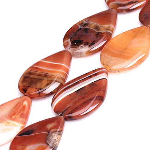 "Dream Lace Agate Beads for Jewelry Making Natural Semi Precious Gemstone 30x40mm Drop Strand 15"" JOE FOREMAN"