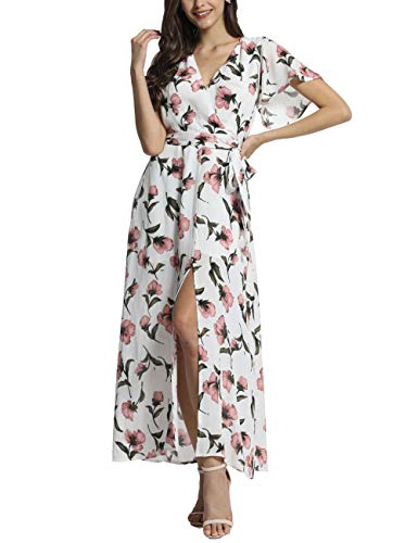 (Azalosie Wrap Maxi Dress Floral Short Sleeve Tie Flowy Front Slit Boho Dress Party Wedding Beach Dress White)