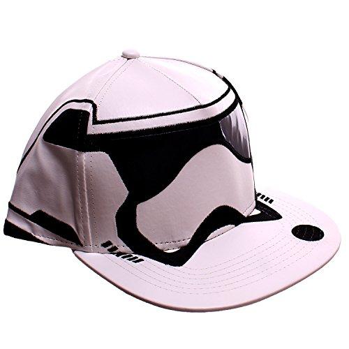 Disney Star Wars White Storm Trooper Big Face Snapback Baseball - Wars Star Leather Hat