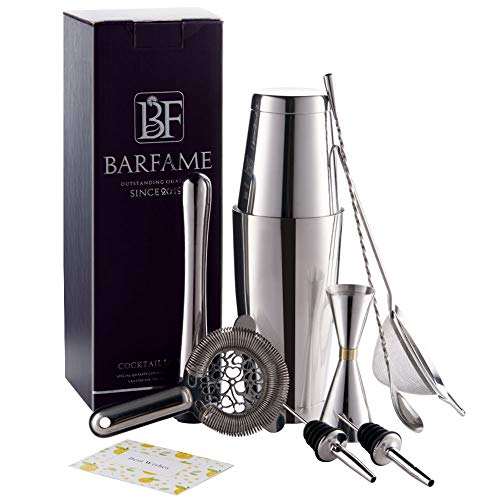 Barfame Cocktail Shaker Set Stainless Steel Bartender Kit 18oz 28oz Boston Shaker, Double Jigger, 8 Muddler, 2 Liquor Pourers, 12 Mixing Spoon, Cocktail Strainer, Mesh Strainer Silver