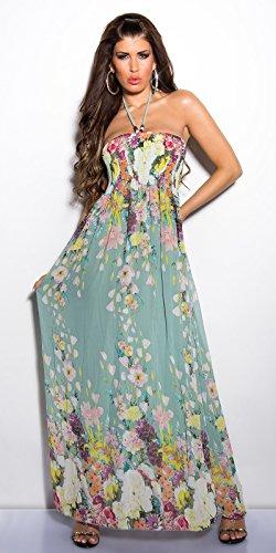 Sexy Chiffon Neckholder Maxi Kleid im Blütenmuster Mint FG35Wb ...