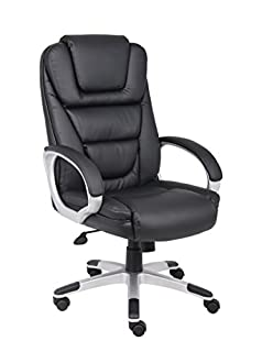 Boss Office Products High Back No Tools Required LeatherPlus Chair in Black (B00166DR9S)   Amazon price tracker / tracking, Amazon price history charts, Amazon price watches, Amazon price drop alerts