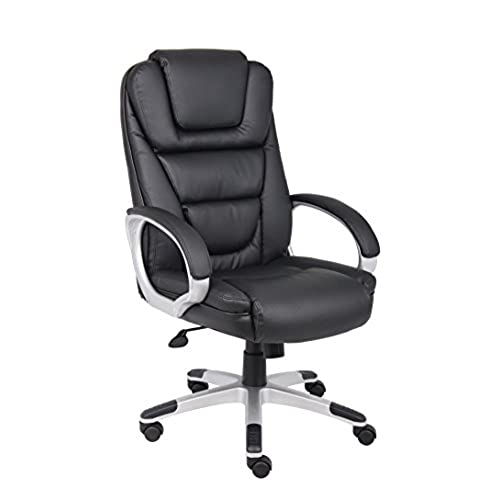 Boss Office Products B8601 High Back No Tools Required LeatherPlus Chair In  Black