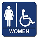 Lynch Signs 8 in. x 8 in. Sign Blue Plastic with Women Symbol and Accessible Symbol