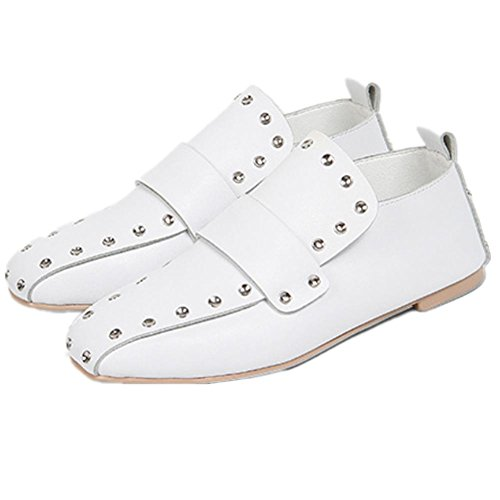 Shoes Style flat leather rivet head New Leather shoes White Shoes square Single Flat shoes gxqAnCzn