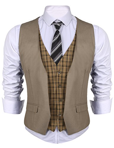 Coofandy Mens Fake 2 Piece V Neck Plaid Patchwork Suit Vest for Wedding, Dinner