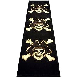 Champion Rugs Pirate Skull Area Rug Design #CR79 (2 Feet X 7 Feet Runner)