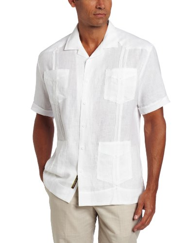 - Cubavera Men's Short Sleeve 100% Linen Guayabera, Bright White, Large